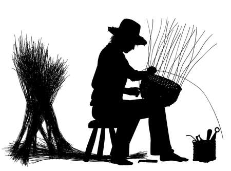 Editable vector silhouette of a craftsman making a basket with elements as separate objects Illustration
