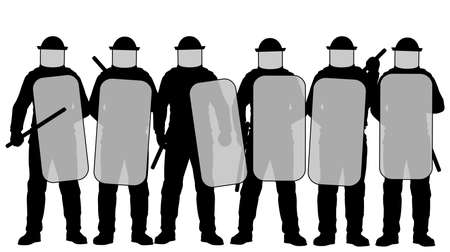 Editable vector illustration of a group riot police with protective gear and shields