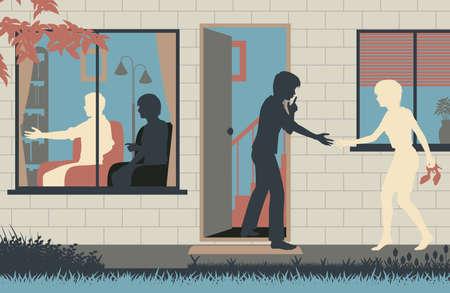Bewerkbare vector illustratie van een tiener sluipen zijn vriendin in zijn huis, terwijl zijn ouders worden afgeleid