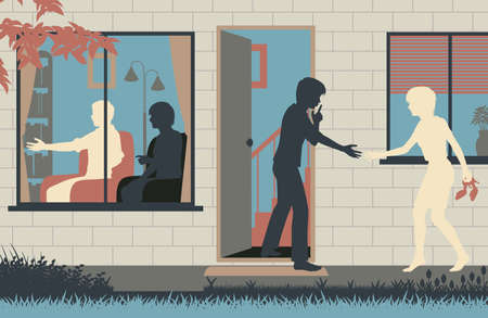Editable vector illustration of a teenage boy sneaking his girlfriend into his house while his parents are distracted
