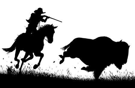Siluetta editabile di vettore di un cowboy a cavallo che insegue e sul punto di sparare un bufalo americano Archivio Fotografico - 84714592