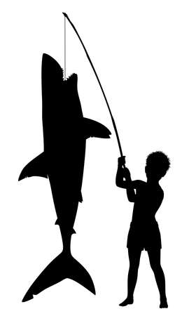 Editable vector silhouette of a young boy over achieving by catching a large shark with a small rod
