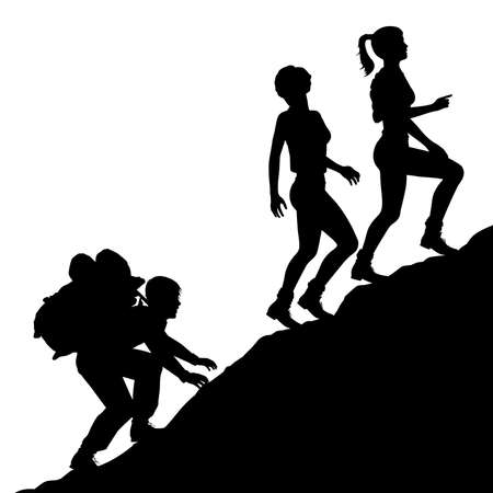 Editable vector silhouette of a young man carrying a heavy bag up a mountain for two attractive young women with figures as separate objects.