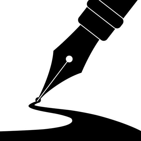 Editable vector illustration of an ink pen drawing a line.