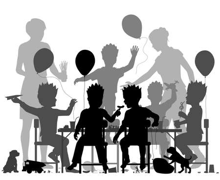 Editable vector silhouette of young boys having a lively party with all elements as separate objects. Stock Illustratie
