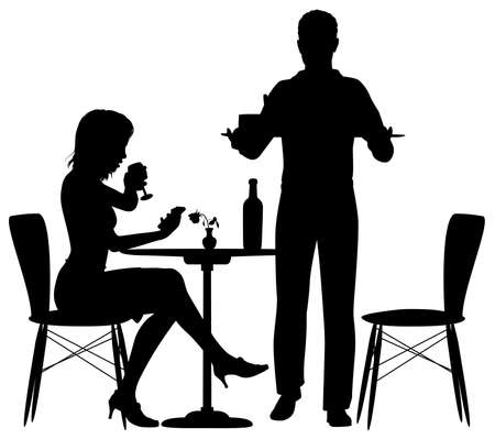 Editable vector illustration of a woman being served food by a man. Who could be a waiter or her partner with elements as separate objects.