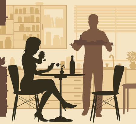 Editable vector illustration of a woman being served food by a man at home.