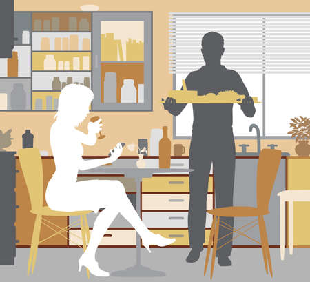 Editable vector illustration of a woman being served food by a man at home. Stock Vector - 90506828
