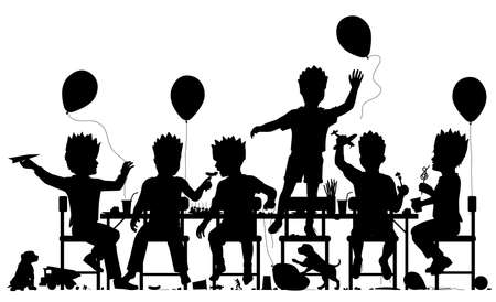 Editable vector silhouette of young boys having a lively party with all elements as separate objects.  イラスト・ベクター素材