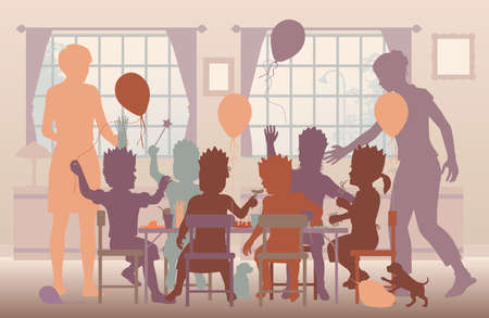 Editable vector illustration of young girls having a house party with two mothers supervising  Stock Illustratie