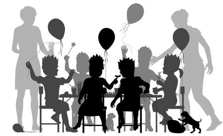 Editable vector silhouette of young girls having a house party with two mothers supervising   イラスト・ベクター素材