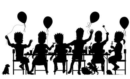 Editable vector silhouette of young girls having a house party with all elements as separate objects