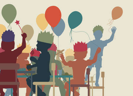 Colorful editable vector cutout illustration of young children having a party   イラスト・ベクター素材