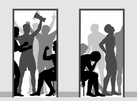 Editable vector illustration contrasting the victorious and defeated sports team changing rooms   向量圖像