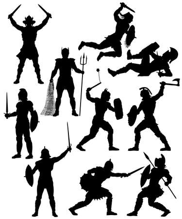 Set of editable vector silhouettes of fighting gladiators with figures and weapons as separate objects