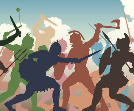 Editable vector cutout illustration of fighting ancient warriors with figures and weapons as separate objects