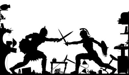 Editable vector silhouette of a domestic fight in a living room between a female and male gladiator with all objects as separate objects  Vectores
