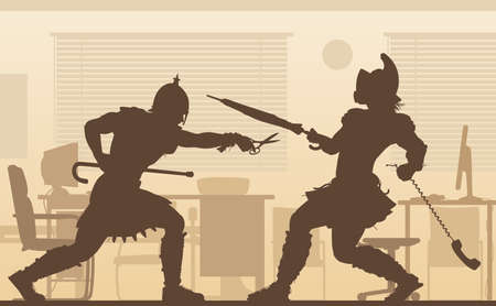 Editable vector illustration of two gladiators fighting in an office conflict