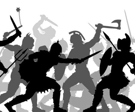 Editable vector silhouettes of ancient fighting soldiers in battle with figures and weapons as separate objects
