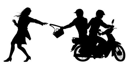 Silhouette of two men on a motorcycle stealing a handbag Stock Illustratie