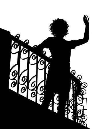Silhouette of a woman waving from a balcony