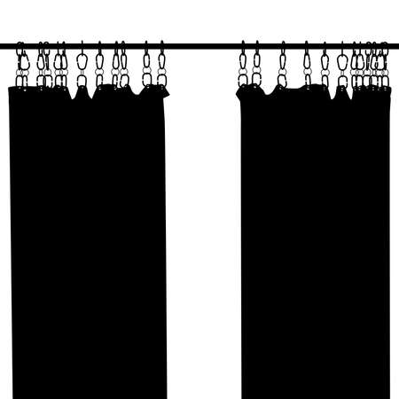 Editable vector silhouette of two hanging shower curtains