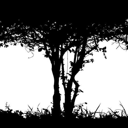 Editable vector silhouette detail of the trunk of a bush and undergrowth with copy-space