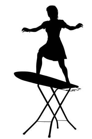 Editable vector silhouette of a housewife surfing on an ironing board with woman and board as separate objects  Stock Illustratie