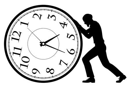 Editable vector silhouette illustration of an old man pushing a clock as a concept of rolling back time