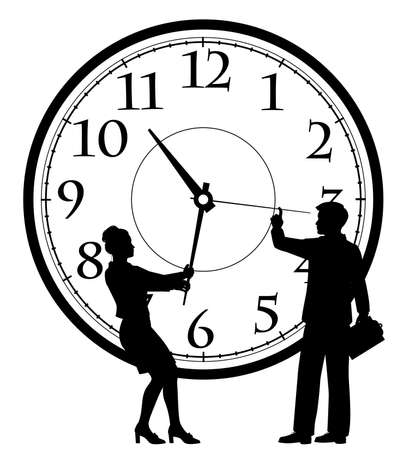Editable vector silhouette illustration of a businessman and businesswoman adjusting a clock as a time management concept with figures as separate objects
