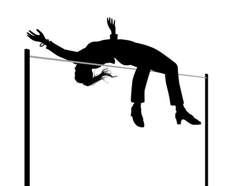 Editable vector silhouette illustration of a businesswoman clearing a high jump