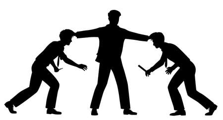 Editable vector silhouette illustration of two office workers held apart by a manager with figures as separate objects