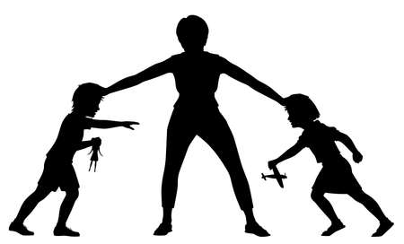 Editable vector silhouette illustration of a mother holding a young brother and sister apart with figures and toys as separate objects