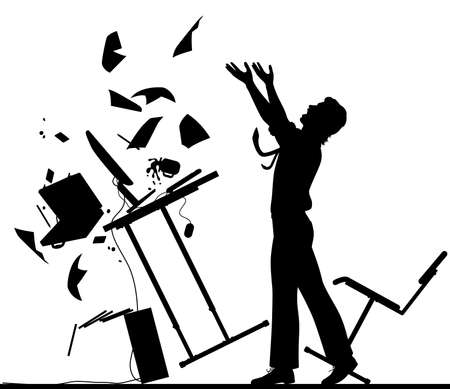 Editable vector silhouette illustration of a frustrated office worker throwing his desk over Stock Illustratie