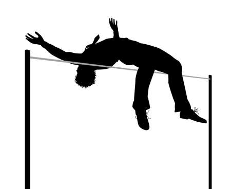 Editable vector silhouette illustration of a businessman clearing a high jump