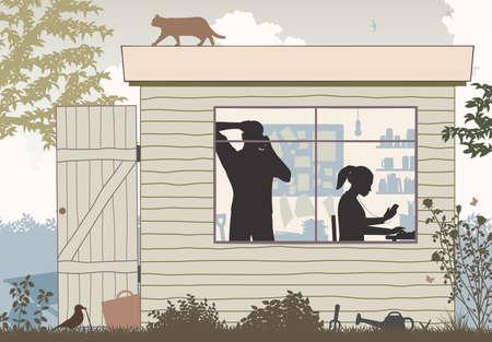 Vector illustratie van een man en een vrouw die een startbedrijf van hun tuinloods in werking stellen