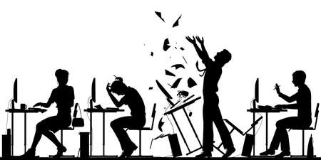 Editable vector silhouette illustration of a frustrated office worker throwing his desk over with all elements as separate objects  Stock Illustratie