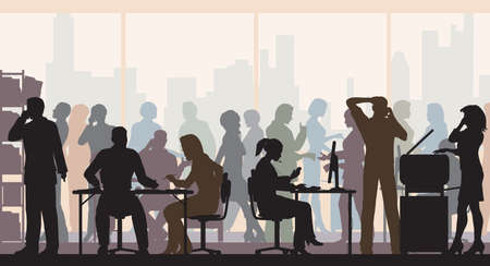 Editable vector silhouettes of people in a crowded busy office with all figures as separate objects