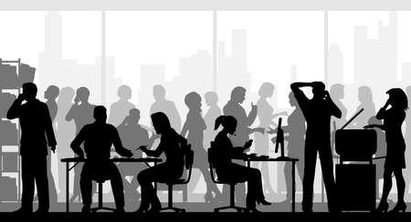 Silhouettes vectorielles modifiables de personnes dans un bureau bondé avec tous les personnages en tant qu'objets séparés