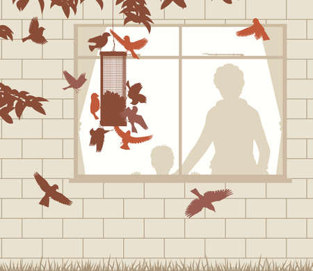Editable vector illustration of a woman and child watching birds at a hanging feeder through a window. Stock Illustratie