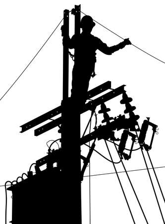 Editable vector silhouette of a utility worker at the top of an electricity pole  Vectores