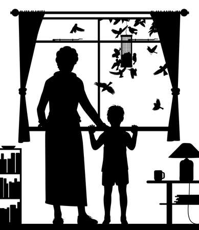 Editable vector silhouette illustration of a woman and child, watching birds at a hanging feeder through a window with all figures as separate objects.
