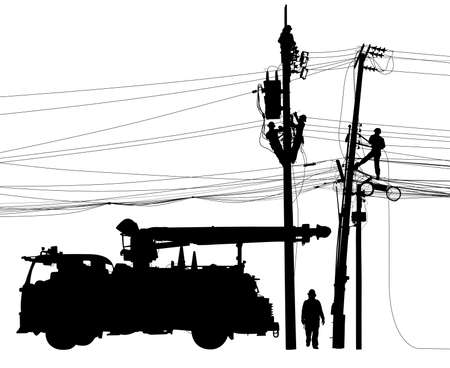 Editable vector silhouette of repairmen performing mainenance on electricity poles and cables with truck as a separate object