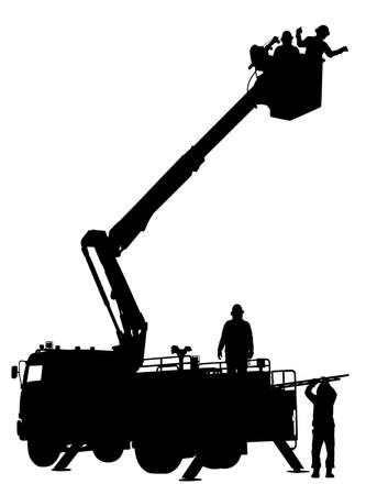 Editable vector silhouette of an emergency or maintenance vehicle in action with people as separate objects