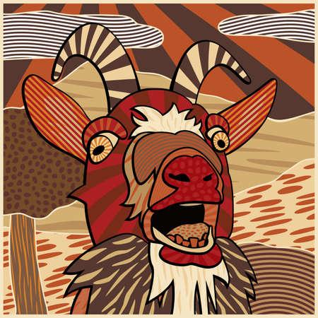 Colorida ilustración vectorial editable de la cabeza de una cabra balando Ilustración de vector