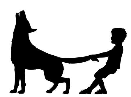 Editable vector silhouette illustration of a boy pulling the tail of a howling wolf