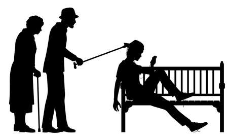 Editable vector silhouette illustration of an elderly couple poking a young man slouched on a park bench