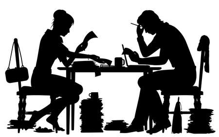Editable vector silhouette of a man and woman busy with paperwork