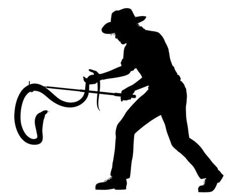 Editable vector silhouette of a man catching a cobra, with snake, man and snakestick as separate objects