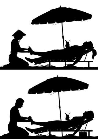 Editable vector silhouettes of a man and woman on a beach vacation getting a foot massage with figures as separate objects